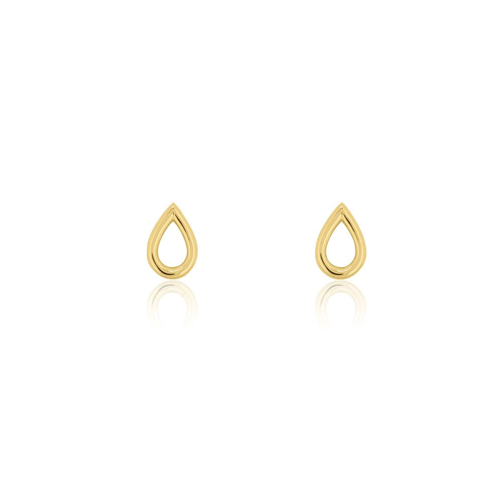 Open Drop Stud Earrings - Yellow Gold Plated Sterling Silver
