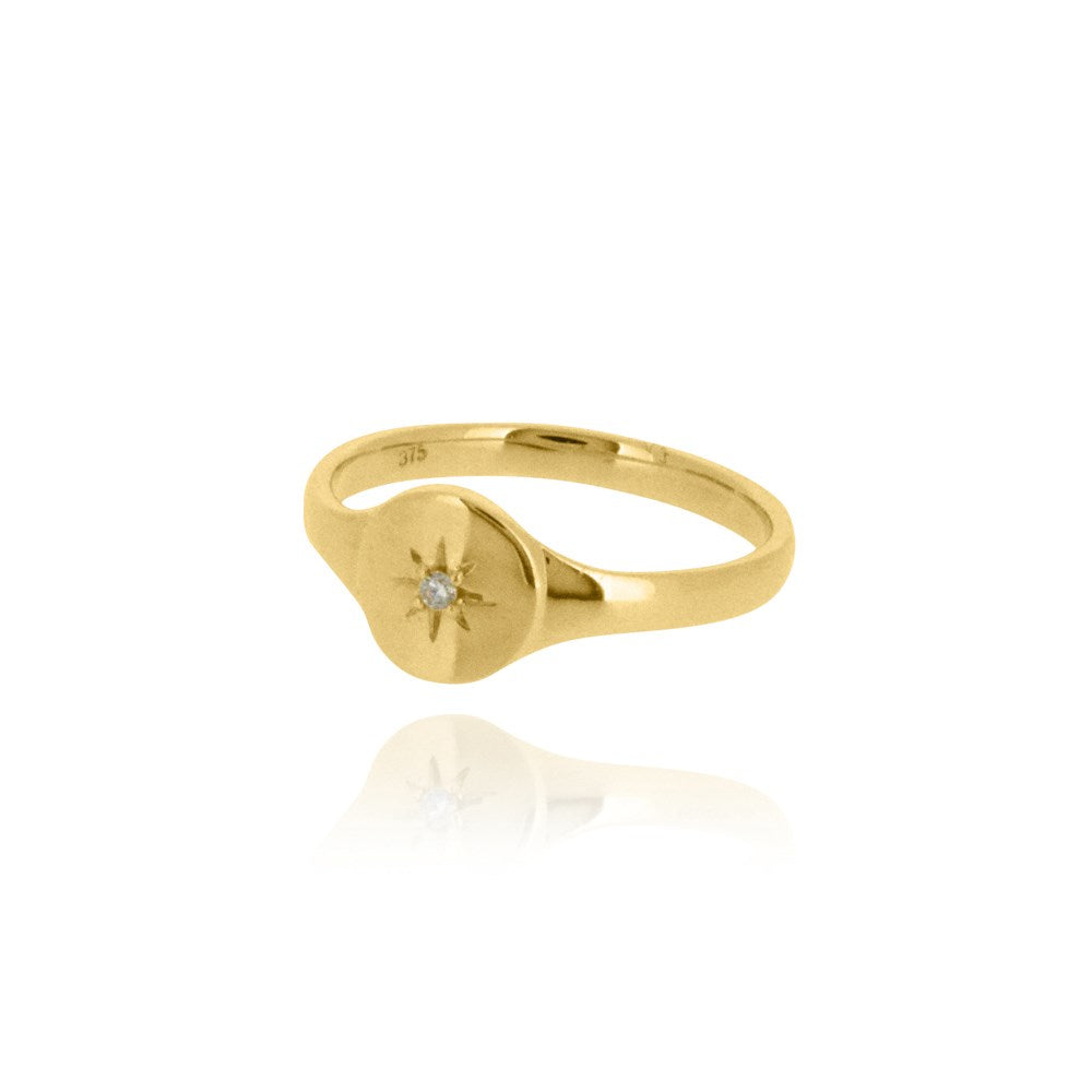 North Star Diamond Signet Ring - 9k Yellow Gold