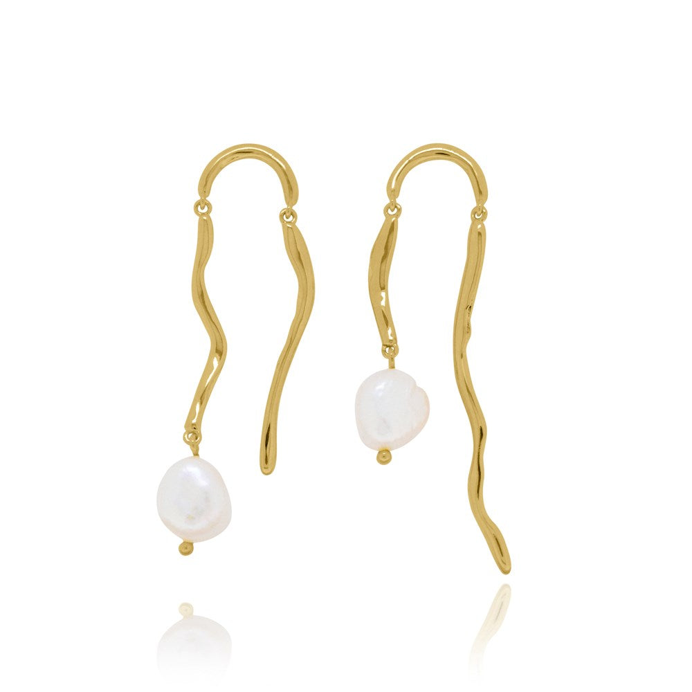 Underwater Pearl Drop Earrings - Yellow Gold Plated Sterling Silver