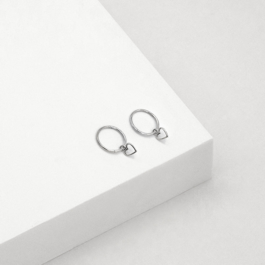 Open Heart Sleeper Hoop Earrings