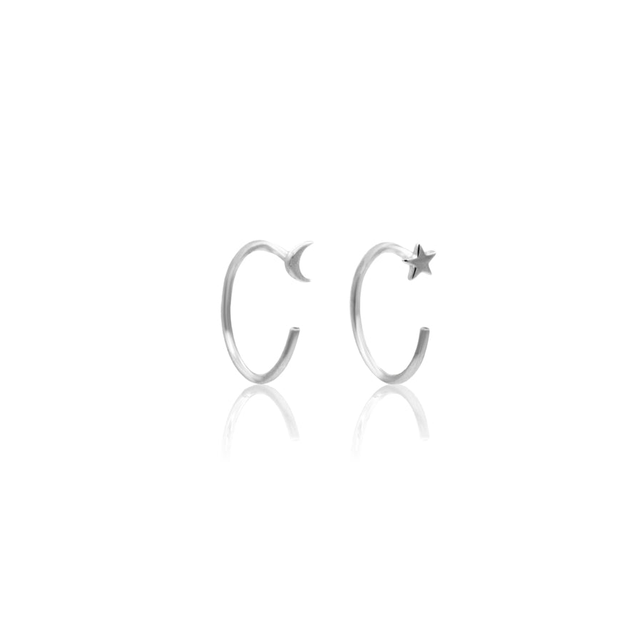 Micro Star & Moon Open Hoop Earrings - 9k