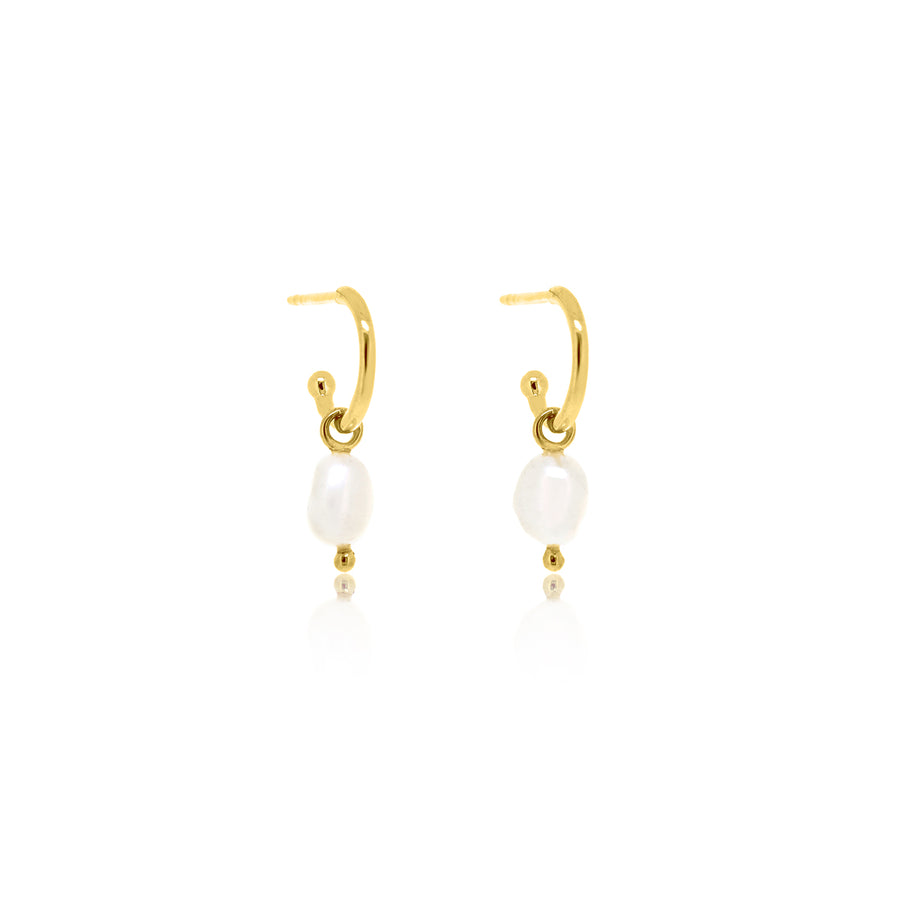 Baroque Pearl Base Hoop Earrings