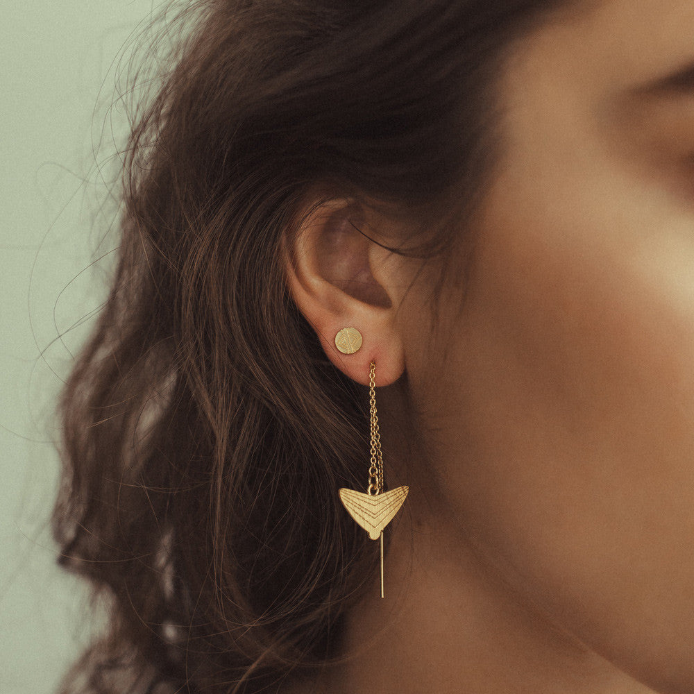 Journey Triangle Thread Earrings - Yellow Gold Plated Sterling Silver