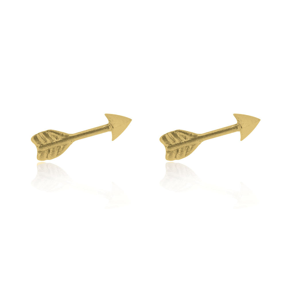 Arrow Stud Earrings - Yellow Gold Plated Sterling Silver