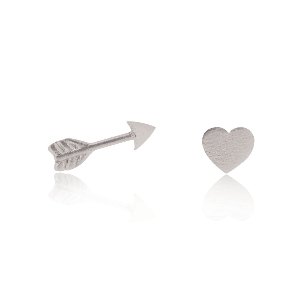 Heart & Arrow Stud Earrings - Sterling Silver