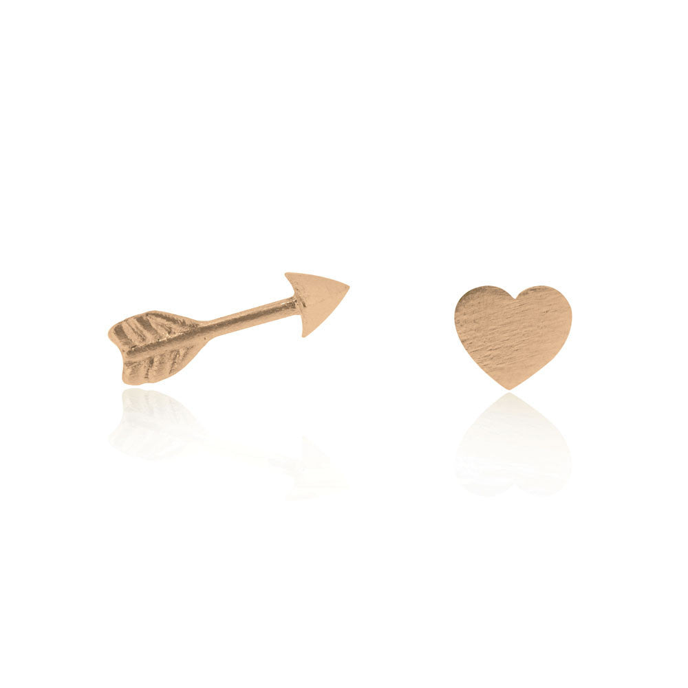 Heart & Arrow Stud Earrings - Rose Gold Plated Sterling Silver