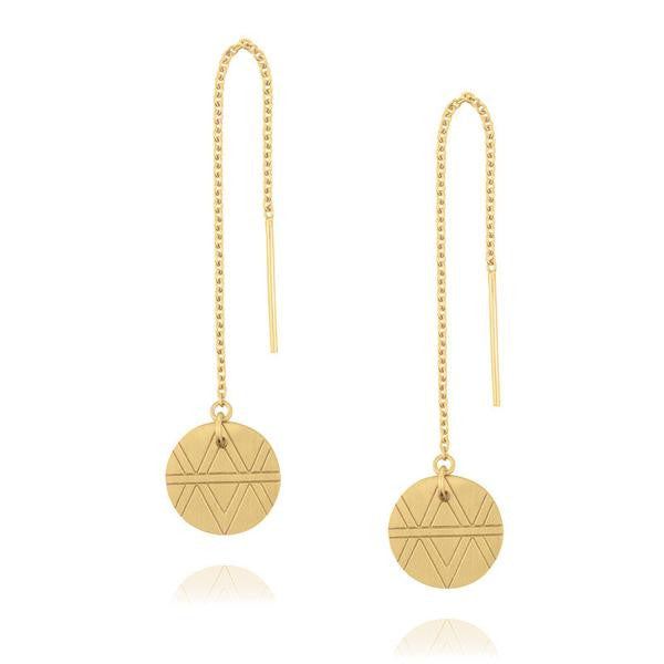 Journey Disc Thread Earrings - Yellow Gold Plated Sterling Silver