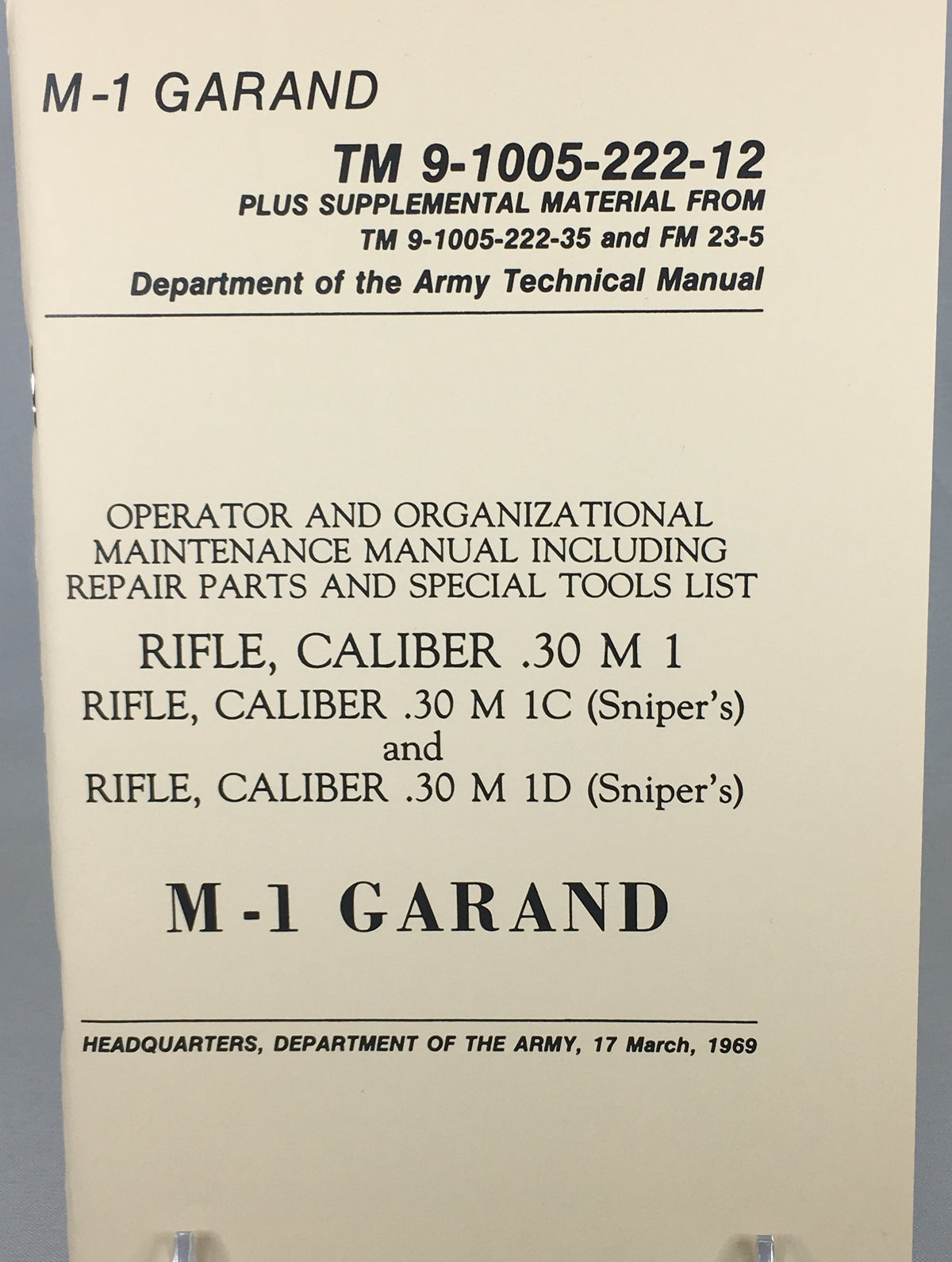 M-1 Garand Rifle - Department of the Army Technical Manual