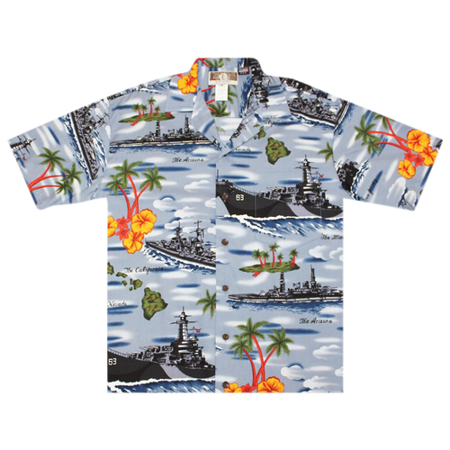 Aloha Shirt Battleships Blue