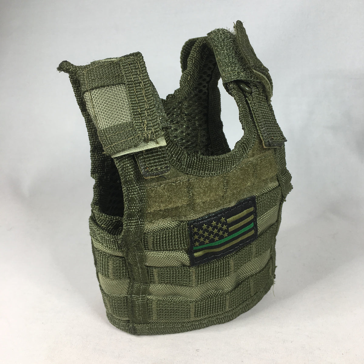 Green Vest Coozie with Flag