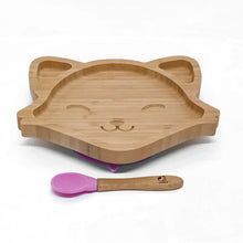 Load image into Gallery viewer, ECOPANDAUK® Natural Bamboo Suction Plate and Spoon Set - FOX