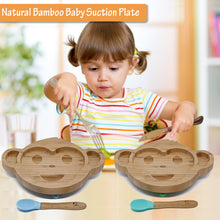 Load image into Gallery viewer, ECOPANDAUK® Natural Bamboo Suction Plate and Spoon Set - MONKEY