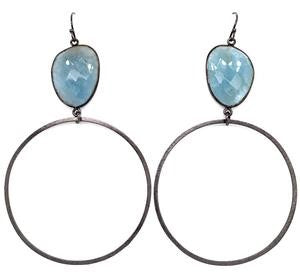 Aquamarine AAA Large Jumbo Black Oxidized Hoops