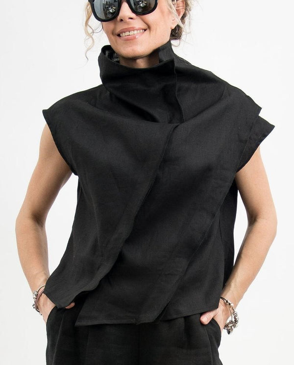 Chic Black Linen Crop Top