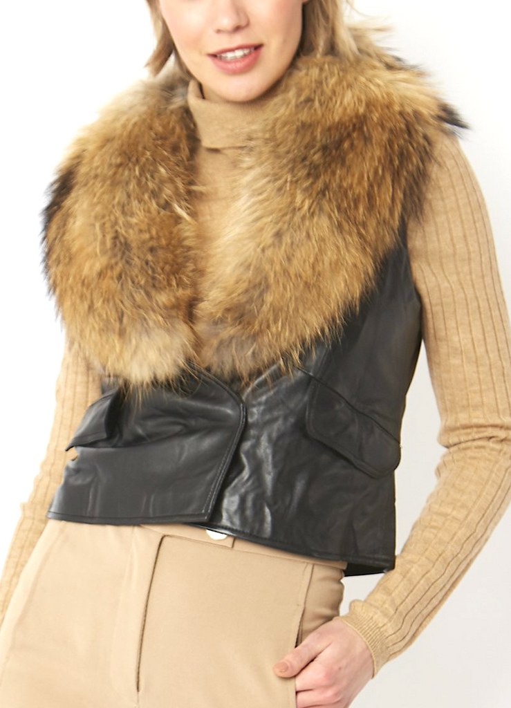 Fox Fur and Leather Cropped Vest