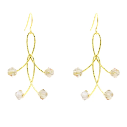 Golden Mystic Crystal Orbit Earrings