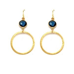 London Blue Quartz Small Gold Hoop Bottoms