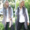 Ultra Suede 3/4 Length Vest with Fox Fur Trim And Side Pockets