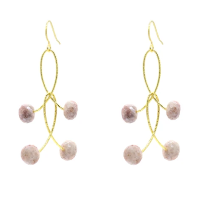 Pink Mystic Moonstone Orbit Earrings