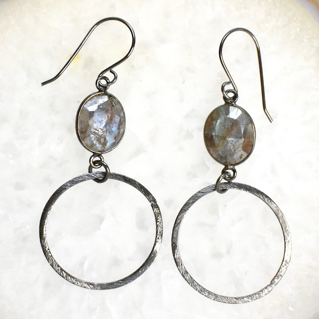 Mystic Labradorite Small Oxidized Hoops