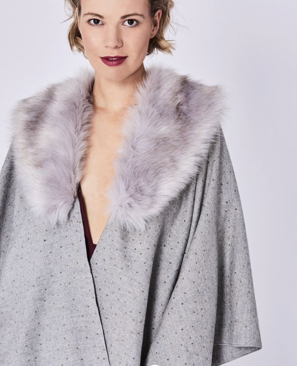 Cashmere Wrap With Faux Fur