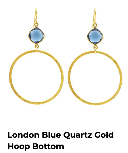 London Blue Quartz Faceted Gold Large Hoops