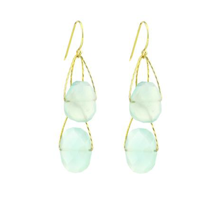 Aquamarine Chalcedony Double Academy earrings