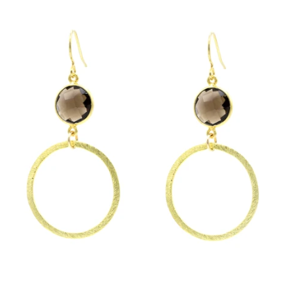 Smokey Quartz Small Hoops in Gold