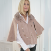 Brushed Ultra Suede Cape With Faux Fur Detachable Collar