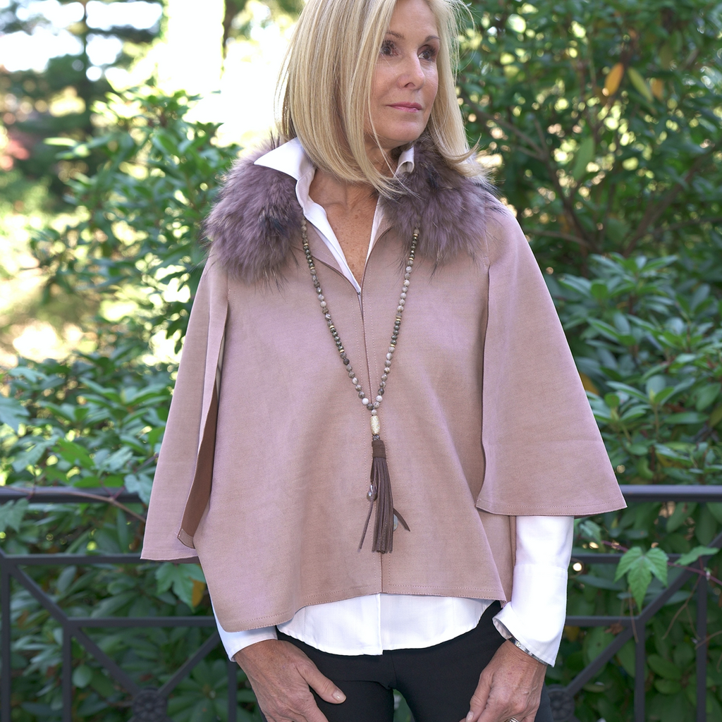 Very Chic Ultra Suede Jacket/Cape With Fox Fur Detachable Collar
