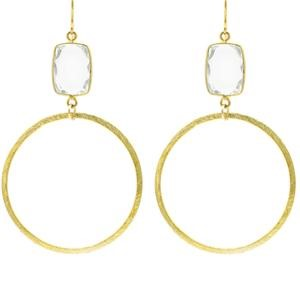 Crystal Clear Quartz Rectangle Gold Hoops