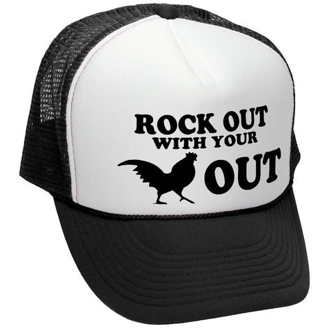 ROCK OUT - funny joke party gag - Mesh Trucker Hat Cap (trucker)