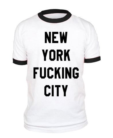 NEW YORK FUCKING CITY - Unisex Cotton Retro Ringer Style T-Shirt