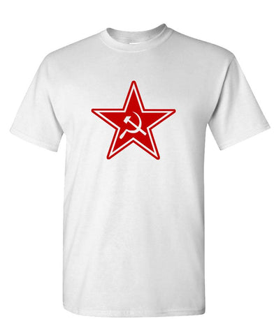 RUSSIAN COMMUNIST STAR - retro 80's cccp commie - Cotton Unisex T-Shirt (tee)