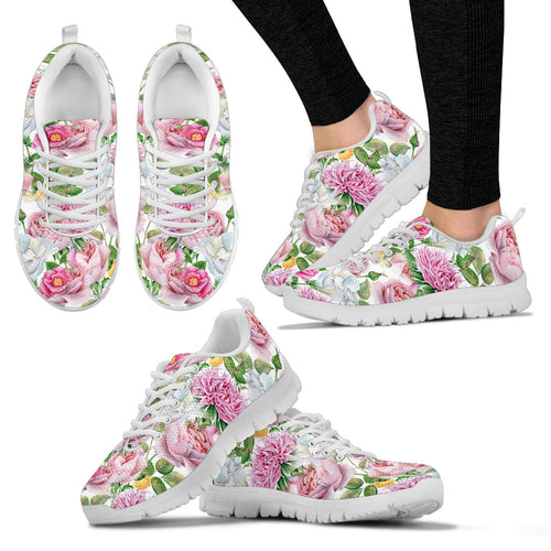 Watercolor Floral Women's Sneakers (white)