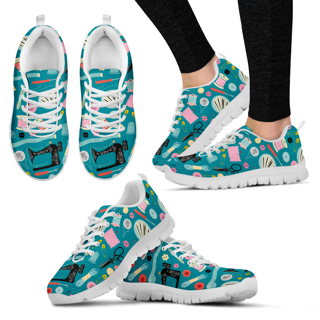 Sewing Women's Sneakers Teal and White