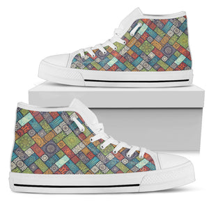 Diagonal Floral Tiles - Women's High Top Shoes (White)