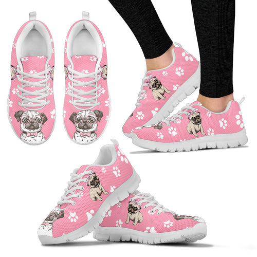 Pink Pug Dog Women's Sneakers