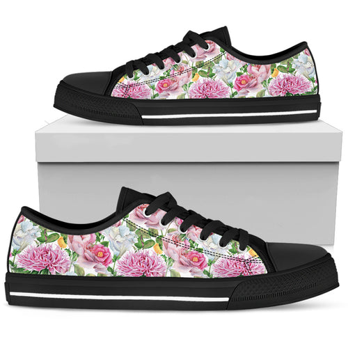 Watercolor Floral Women's Low Top Shoes Black