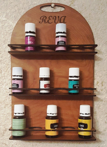 Monogrammed essential oils bottle storage rack, wall mount