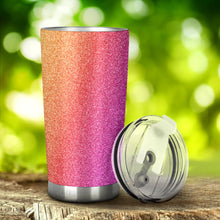 Load image into Gallery viewer, Pink & Orange Glitter Effect Tumbler