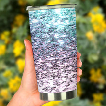 Load image into Gallery viewer, Pink & Green Glitter Effect Tumbler