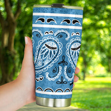 Load image into Gallery viewer, Denim Blue Bandana Tumbler