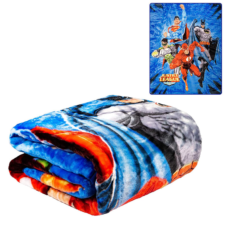 "Blanket Faux Fur Justice League Blue TWIN Bed 60""x 80"