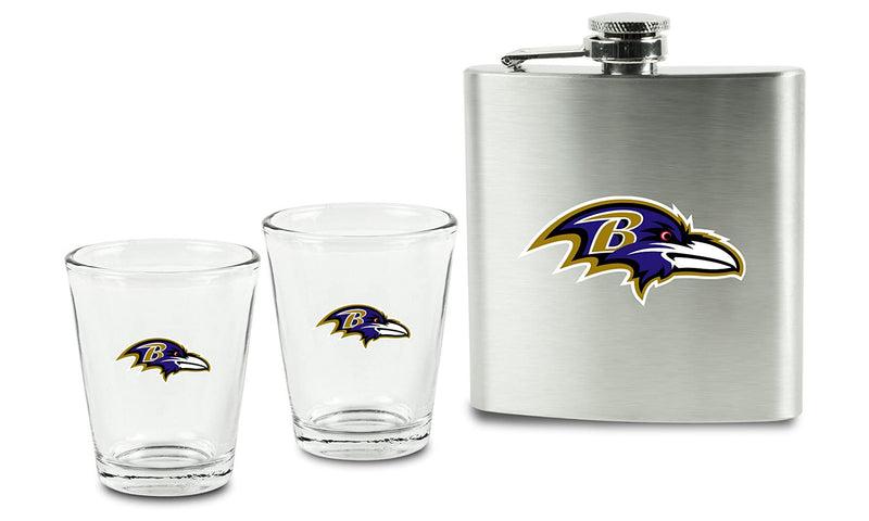 NFL Baltimore Ravens 6oz Flask Shot & 2oz Glasses Set, Stainless Steel
