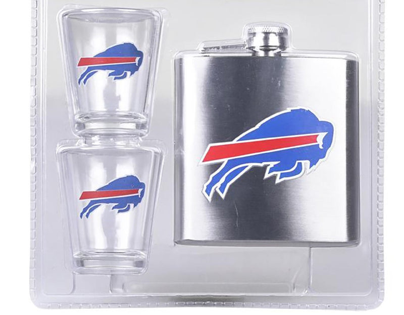 NFL Buffalo Bills 6oz Flask Shot & 2oz Glasses Set, Stainless Steel