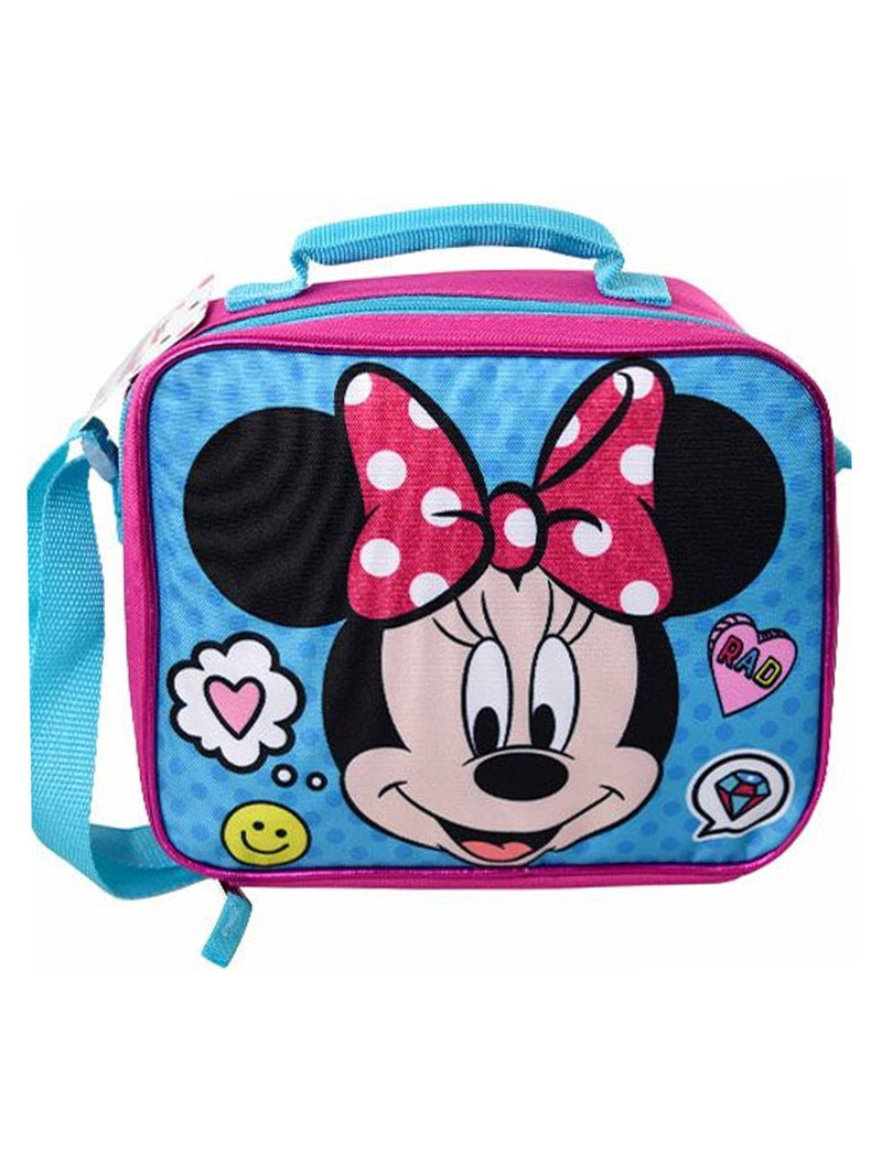 Girls Minnie Mouse Face Insulated Lunch Bag Pink with Shoulder Strap