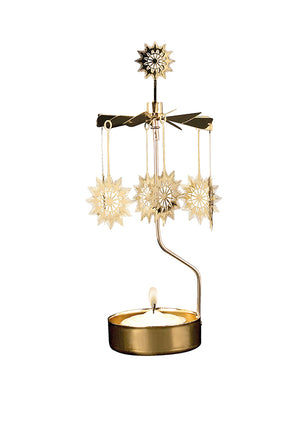 Gold Starburst Rotary Candle Holder