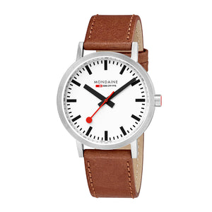 Classic Fall Collection Watch 40mm Stainless Steel Brushed Leather Strap
