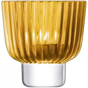 Pleat Candle Holder Amber